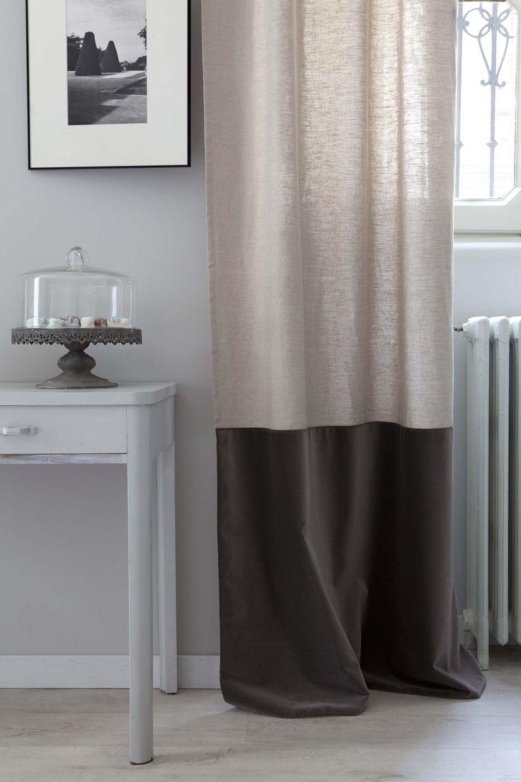 MarinaC - drape in 100%pure linen with charcoal velvet border ph.@Cristina Galliena Bohman #marinacmilano