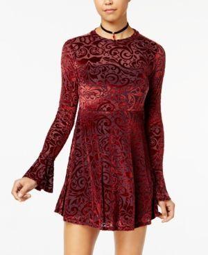 American Rag Juniors' Velvet Burnout Babydoll Dress, Created for Macy's - Red XXL