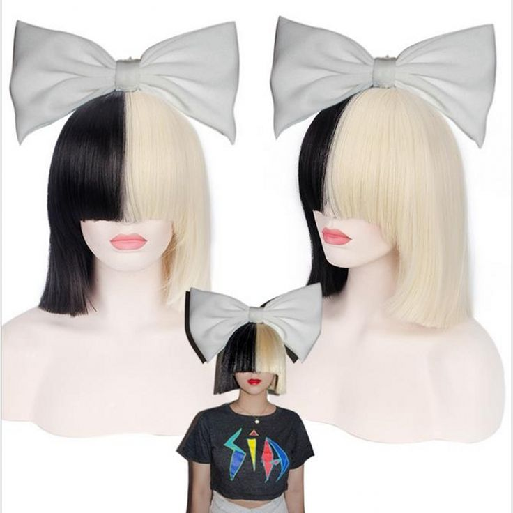 New High Quality sexy Women's Sia Wig Medium Long Half Black and Half Blonde Cosplay Party Wigs.Synthetic Hair Wig