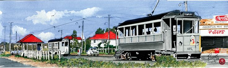"""""""Belmont, Brisbane - 1965"""" - I was born here in Belmont in 1957 and I remember the old Coronation Milk Bar and their excellent Hamburgers and Milkshakes...I have fond memories of living here until I was 5 when the family moved to the Gold Coast. This is a pen and watercolour artwork (380 x 115mm). This artwork is for sale."""