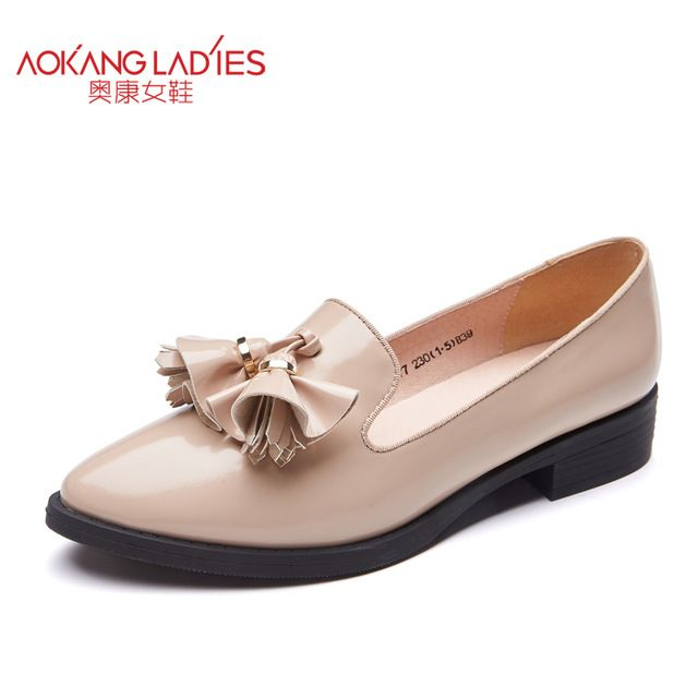 Special offer AOKANG 2016 autumn New Arrival sweet lady shoes PU material pointed toe flats for women patent leather female shoes wholesale just only $42.18 with free shipping worldwide  #womenshoes Plese click on picture to see our special price for you