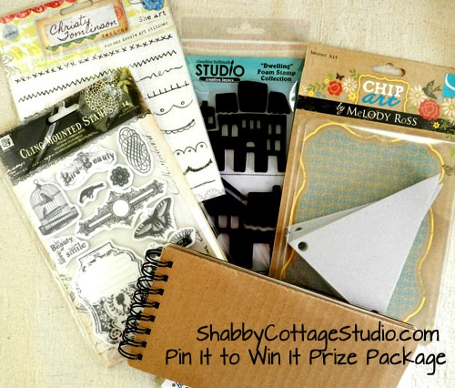 We're having a contest! Re-pin this image for a chance to win the items featured..a journal,rub-ons,stamps & a chipboard banner!     Leave a comment with the URL of the board you re-pinned it to.  And if you blog the contest with this image and a link to this board I will give you two more entries for a total of 3! Leave a comment here with the URL to your static blog post.     Contest ends 7/16/12. We apologize to our Int'l friends this contest is only open to U.S. residents at this time.