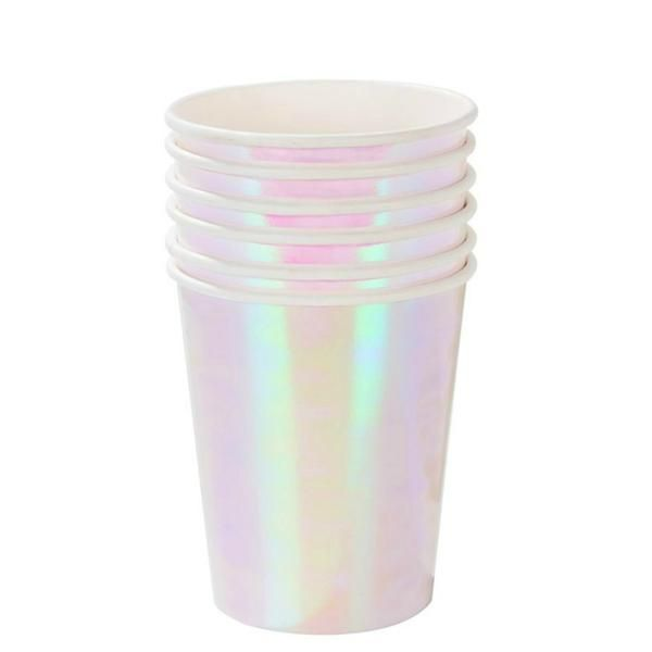 Iridescent is irresistible! Shimmer and shine with these iridescent pastel-pink paper cups. Perfect for a birthday party, baby shower or for anyone who believe