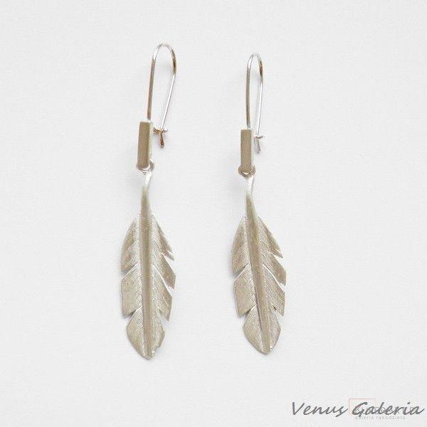 Kolczyki srebrne - Białe piórka małe - Kolczyki - Biżuteria srebrna