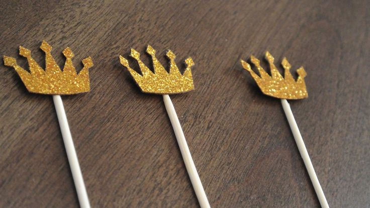Gold Crown Cupcake Topper. 12 CT. BY Paper Rabbit. Prince/Princess Birthday by PaperRabbit87 on Etsy