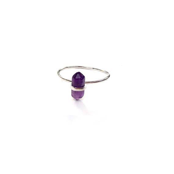 Amethyst quartz ring. Delicate ring . Sterling Silver  .