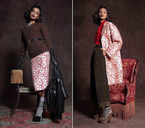 Az elegáns, japán stílusú selymet vagány elemekkel bolondították meg a tervezők: a kötött pulóver, a motoros dzseki és a bő nadrág lezserebbé teszi az összképet.