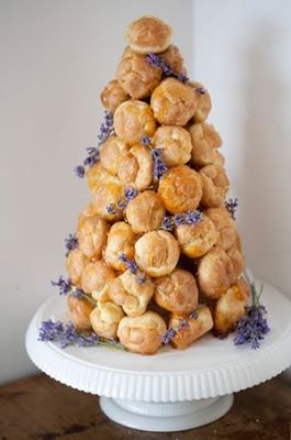 Plain Croqembouche with Custard Tower Decorated with Lavender Violet flowers
