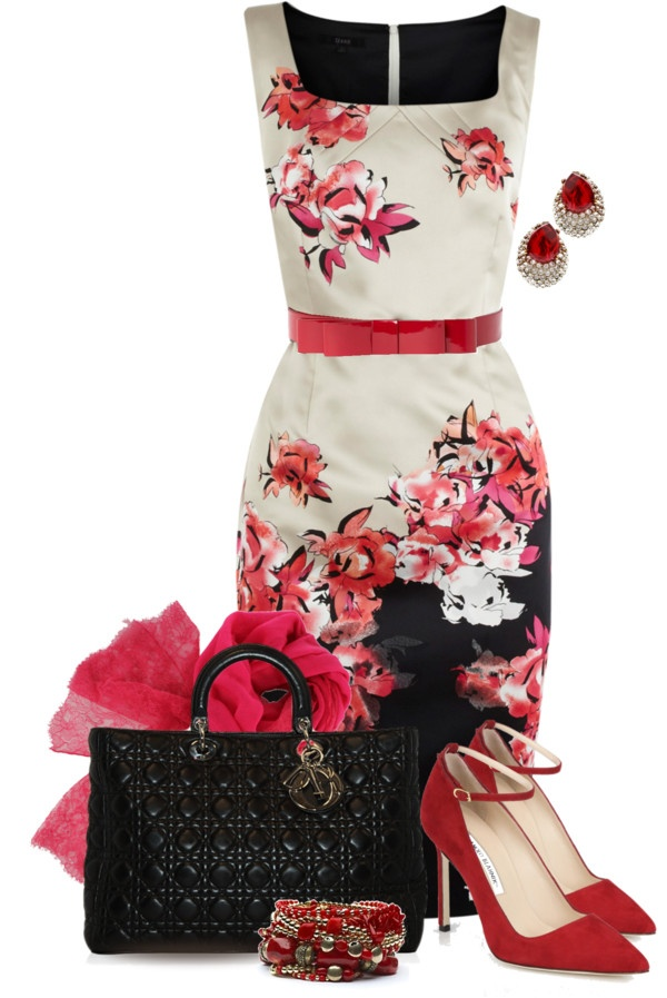 """Floral & Red"" by yasminasdream on Polyvore"
