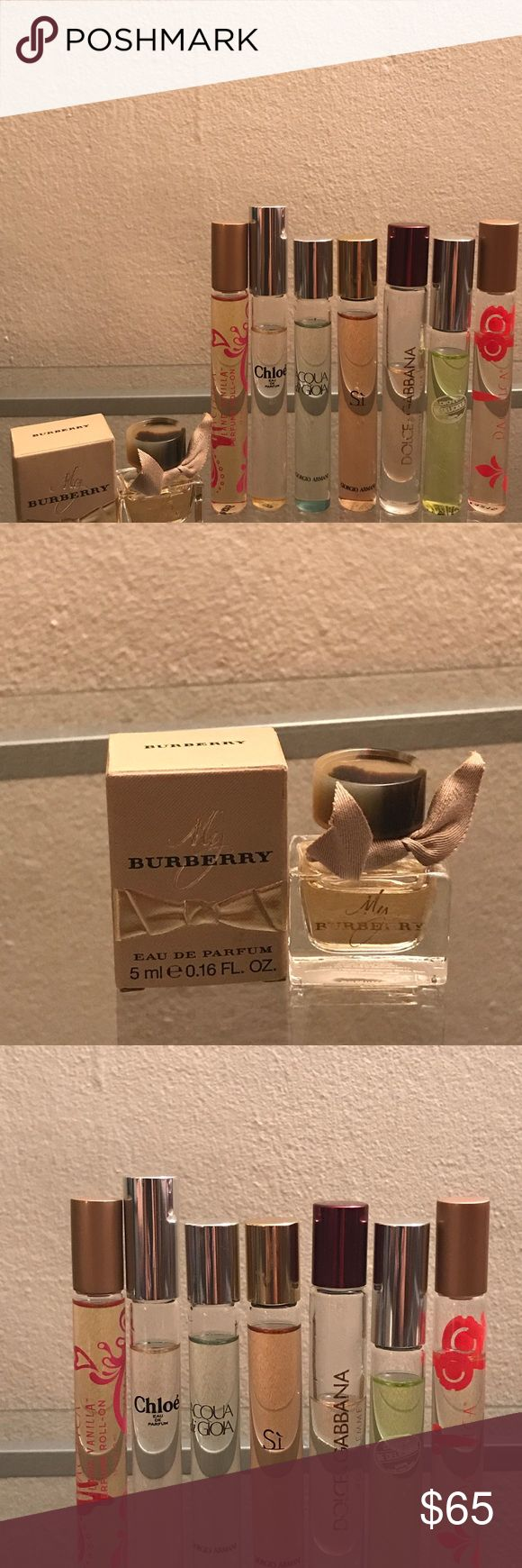 "Final$ Huge 8pc rollerball perfume lot! Huge 8pc perfume lot! DKNY ""Be Delicious"" .34oz rollerball 90%left, Burberry ""My Burberry .16oz perfume new, Pacifica . 33oz Island Vanilla"" roll on 98% left, Giorgio Armani .34oz Si"" roll on 95% left, Chloé ""Chloe"" roll on 95% left, Giorgio Armani "" Acquaint di Gioia .34 oz roll on 95% left, Pacifica ""Indian Coconut Nectar"" .33oz 85%left, Dolce & Gabana ""Pour Femme"" .20oz rollerball 50%left Other"