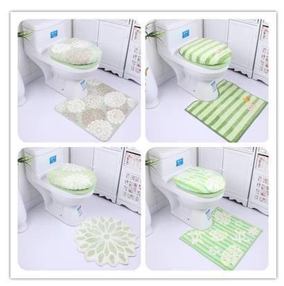 Free shipping soft thickening ultrafine fiber cartoon toilet three piece set print toilet seat toilet lid cover bathroom mat set