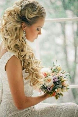 #sleek prom dresses Wedding Hairstyle with sleek long curls & neutral make-up