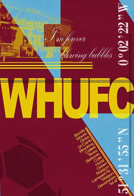West Ham United FC Print West Ham Football by houseofprintsshop