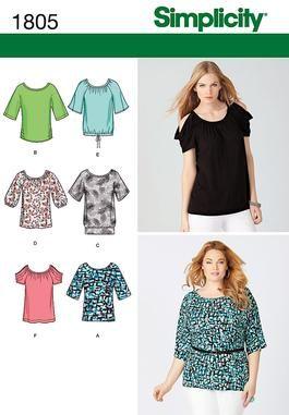 Simplicity Creative Group - Misses'  Plus Size Knit Tops