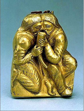 Scythian Gold Plaque Bearing a Scene of Sworn Brotherhood  Gold, 4th century B.C.E.  Kul-Oba burial mound, Bosporan Kingdom, Kerch. Text and image from the website of the Hermitage.
