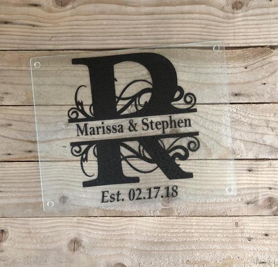 Glass Cutting Board, Last Name Cutting Board, Personalized Wedding Gift, Bridal Shower Gifts, Weddin