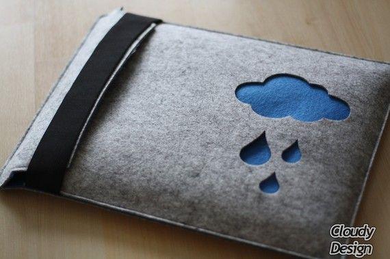 """13"""" MacBook / Pro Sleeve Case Wool Felt """"Blue Cloud"""""""