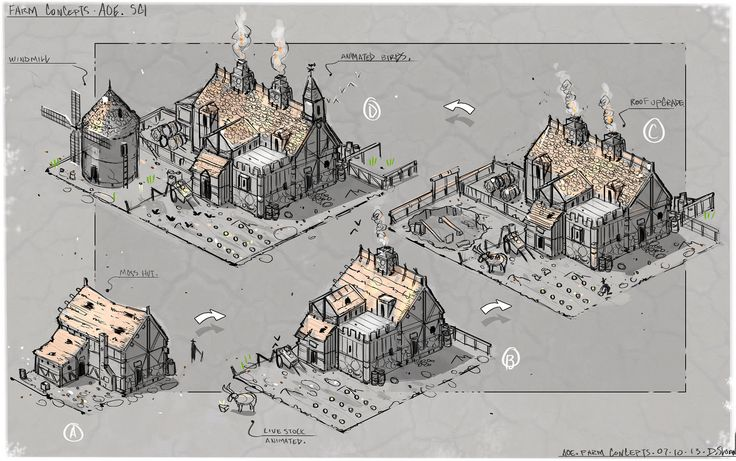 ArtStation - Early Age Of Empires Castle Siege Concept sketches, David Cameron Sloan