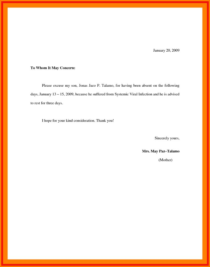 Excuse letter for school excuse letter for school in