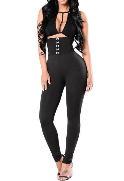 Leggings noir taille haute effet corset à crochets - bestyle29.com