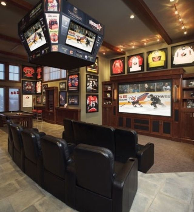 sports bar basement | I Wish I could have | Pinterest