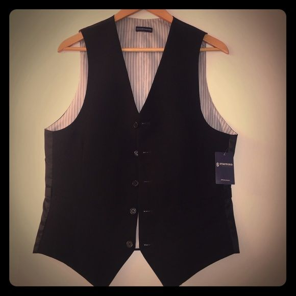 WEEKEND SALE  Men's Stafford Vest This Men's Stafford Black Vest (NWT) Creates A Look That Will Get Noticed Either Around the Office or a Night Out On The Town. ▪5-Button Down ▪️️100% Polyester ▪️Classic Fit▪️***WEEKEND SALE $10.00 Off Listing Price of $35.00*** Jackets & Coats Vests