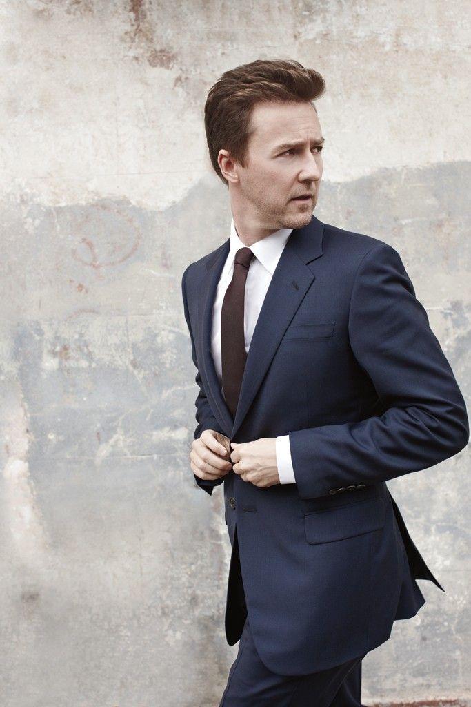 Edward Norton wearing a Prada wool suit, Giorgio Armani's cotton shirt and DKNY tie.  Photo by Lorenzo Agius