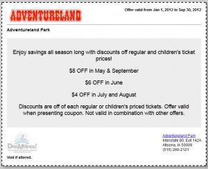 Adventureland discount coupons