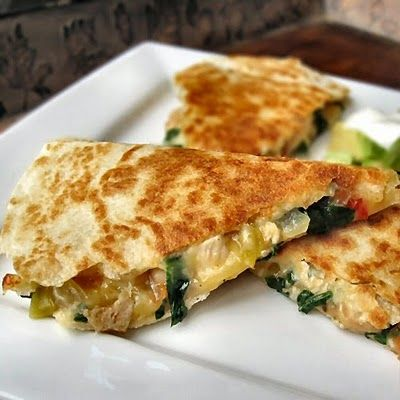 (Spinach & Chicken Quesadillas.).  I made this tonight but with out the spinach. Sooo yummy!!