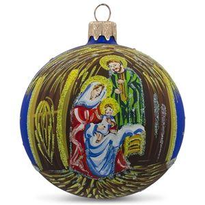 Nativity Manger Scene Religious Christmas Hand Blown Glass Ball Ornament Holiday Gift Ideas