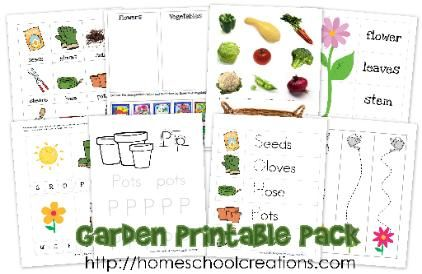 Garden themed printables for #preschool and #kindergarten ~ over 40 pages of learning fun! Free via http://homeschoolcreations.com