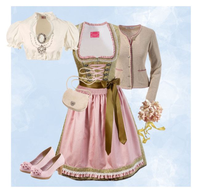 Oktoberfest 2016 outfit pink/green/ecru by juliainuk on Polyvore featuring Andrea Conti