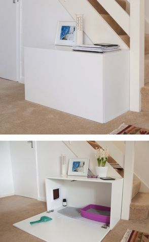 disguised cat litter box at entry way - maybe not the right spot but good idea for laundry