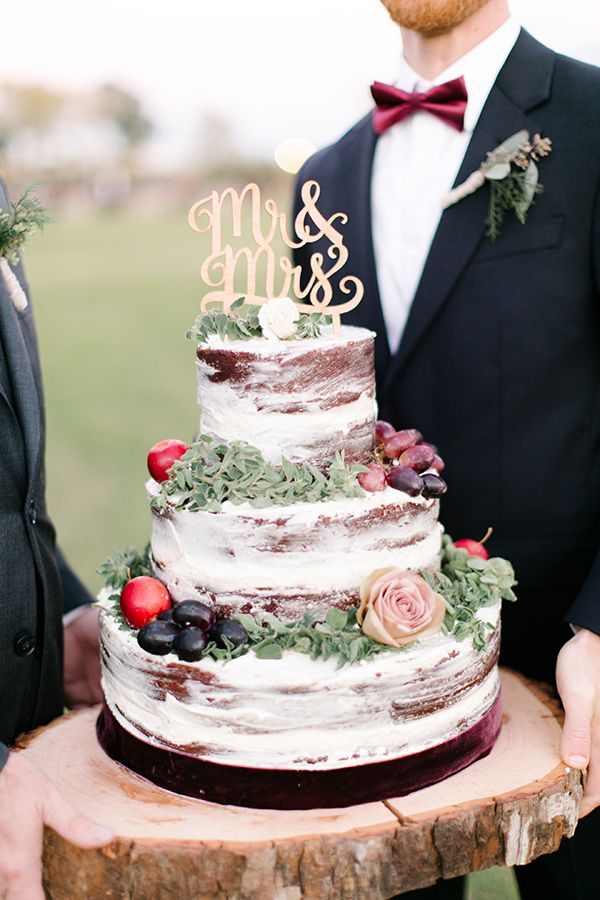 red velvet naked cake Kristen Kilpatrick with Mr & Mrs cake topper available at www.peagreenboat.com