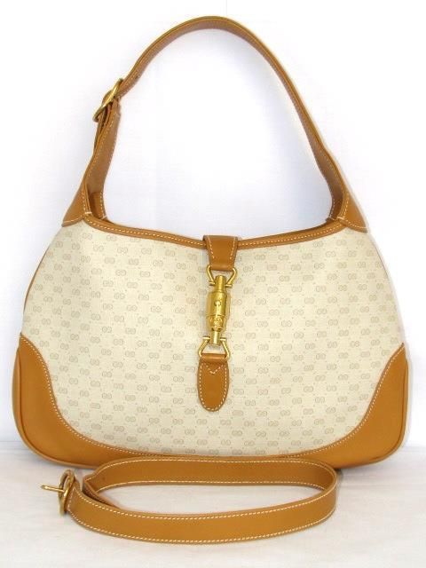 Authentic Gucci Jackie O Piston Gg Monogram Tan Hobo Bag Designer Handbags In 2018 Pinterest And Bags