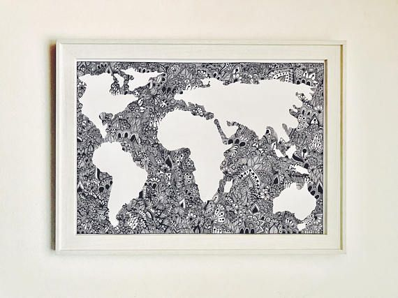 Zentangle World Map Print - For Sale on Etsy