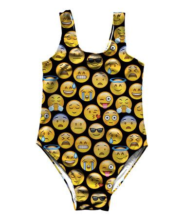 Loving this Yellow Emoji One-Piece - Toddler & Girls on #zulily! #zulilyfinds