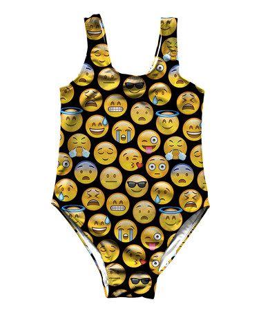 Loving this Yellow Emoji One-Piece - Toddler & Girls on #zulily! #zulilyfinds