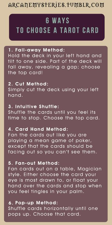 Tarot Tips. 6 ways to pick a tarot card. #tarot #arcanemysteries