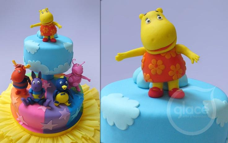Torta de cumpleaños infantil. Decoración con Backyardigans ...