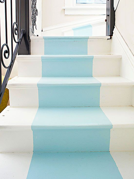 Who says the risers on interior stairs have to be bland and boring? Use paint -- either a solid color or a pattern -- for a more exuberant display of your style personality. Be sure to tape off the treads to protect the existing finish, or include them in your pattern as shown here./