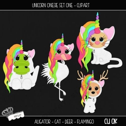 Unicorn Onesie Set 1 - Clipart by kirsty smith This is a set of 4 seperate cliparts. Unicorn, Animal, Fantasy Themed They are all seperate…