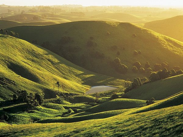 Sunset over rolling hills at mountain view in de Strzelecki Ranges, Gippsland, Victoria_ Australia