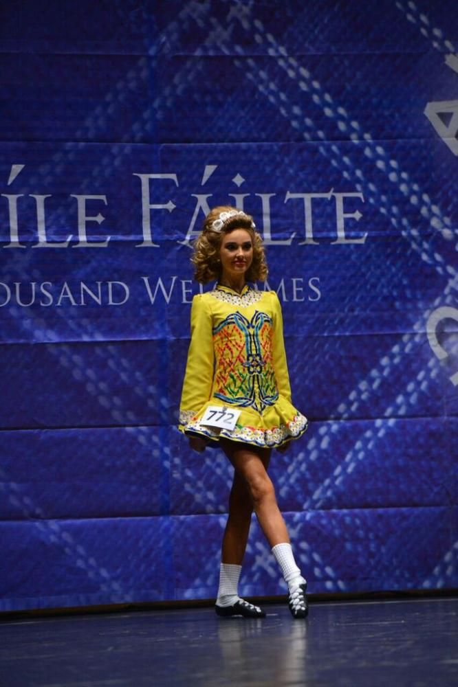 Divine Yellow Gavin Doherty Irish Dance Dress Solo Costume For Sale