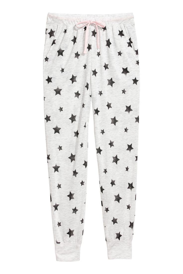 Spodnie piżamowe - Biały melanż/Gwiazdy - ONA | H&M PL