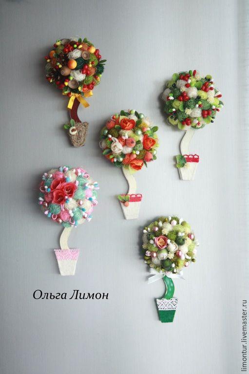 Купить Топиарии - магниты - разноцветный, магниты на холодильник, магнит, топиарий, цветы, полудерево, подарок, оригинальный