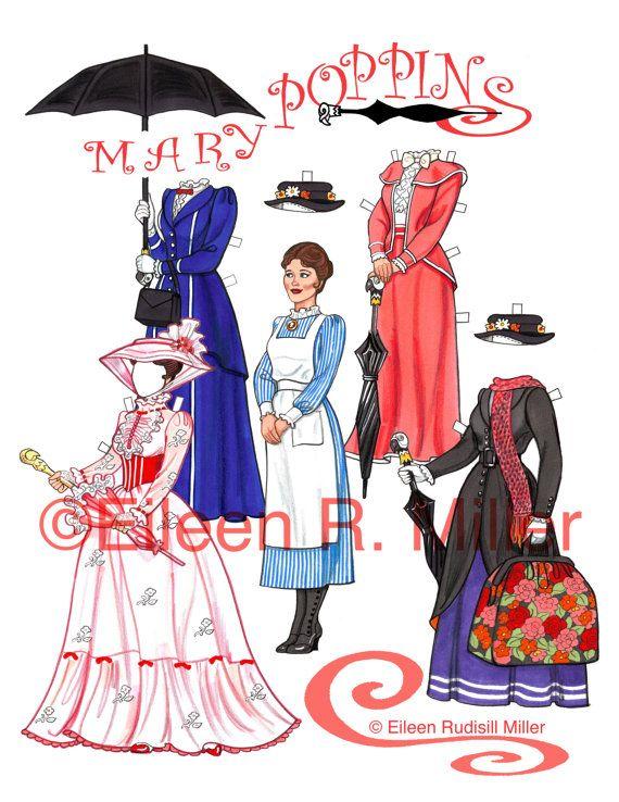 Mary Poppins Paper Doll by PaperDollsbyERMiller on Etsy, $10.00