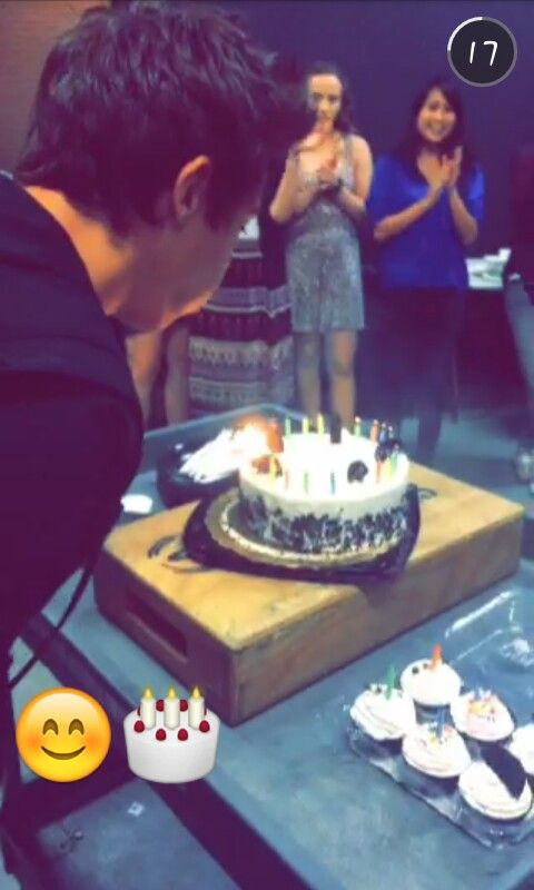 Cameron blowing out his birthday candles♥ I cried before school because I realized he's officially 20 now :'(