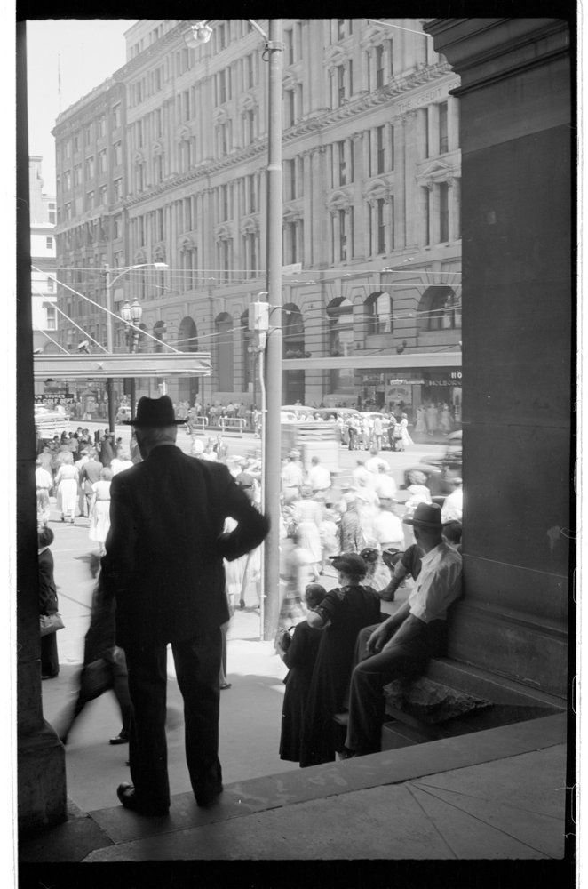 Mark Strizic, 1950s, from the ('Old') Melbourne GPO steps; still a popular meeting place and mass observation point.  Corner Bourke and Elizabeth Streets, Melbourne Australia.