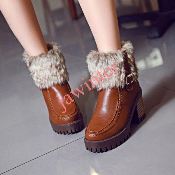 Women's Round Toe Faux Rabbit Fur Ankle Boots Shoes Platform Block Kitten Shoes